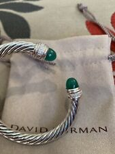David Yurman Sterling Silver 7mm Cable Bracelet With Green Onyx and Diamonds