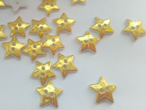 """10 Gold Star Buttons 12mm (1/2"""") Acrylic Stars Christmas Sewing Buttons Crafts"""