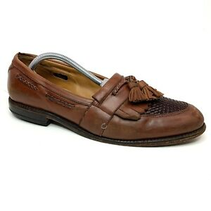 Allen Edmonds Cody Chili Tasseled Woven Vamp Brown Loafers Size 10.5 D 86619
