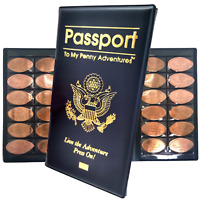 Passport To My Penny Adventure Souvenir Elongated Collector Book Holds 48 Coins