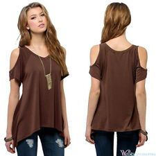 Plus Size Womens Summer Cold Shoulder Tops Short Sleeve Blouse Casual T-shirts