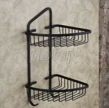 Home Bathroom Black Brass Wall Mounted Double Tiers Corner Shower Basket Shelf