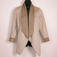 Lane Bryant Womens Faux Suede Shearling Jacket 14/16 Long Coat Open Front New