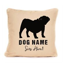 Personalised Bulldog Sits Here Print Cushion With Pad For Dog Lover 18x18