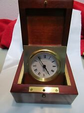 Tiffany & Co. Box Swing Desk Clock Chronometer Ship Authentic cherry mahogany