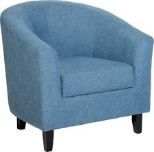 Seconique Tempo Tub Chair - Blue Fabric With Wooden Feet
