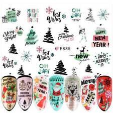 3D Nail Stickers Christmas Decor Deer Santa Claus Sliders Adhesive Nail Decals