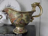 Vintage chinese planter/vase, very heavy majolica material, handpainted[a9]