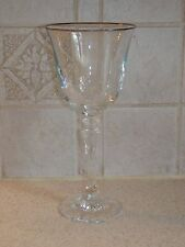"SCHOTT ZWEISEL CRYSTAL PAGEANT PATTERN WATER GOBLET 8 1/4"" PLATINUM TRIMMED"