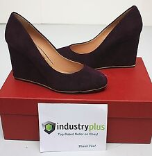 Salvatore Ferragamo FIAMMA Z High Wedge Heel Suede Plum Pumps 10 40.5 NIB Italy