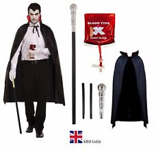 Adult DELUXE VAMPIRE COSTUME Gothic Dracula Mens Halloween Fancy Dress Lot UK