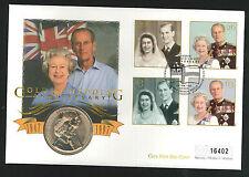 1997 Golden Wedding Coin  FDC - £5 Coin & Royal Naval College, Dartmouth Pmk