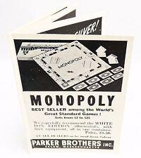 RARE ORIGINAL ca 1938 SMALL PARKER BROTHERS GAMES ADVERTISING BROCHURE GOOD COND