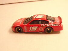 red metal toy race car with Dodge logos and #19 on doors and roof