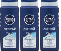NIVEA Men Active3 3-in-1 Body Wash 16.9 Fluid Ounce (3 Pack)