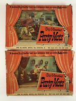 2 Sets of 6 Gay Nineties Party Mats Plastic Coated Vintage w/ Boxes Claytoon