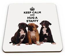 Keep Calm And Hug A Staffy Glossy Mug Coaster
