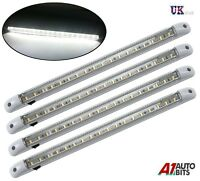 4 X WHITE LED 12V INTERIOR CARAVAN MOTORHOME TRUCK CAR BOAT LIGHT STRIP LAMP NEW