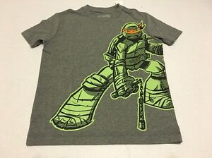 Old Navy Tee Shirt Boys Size M 8 Ninja Turtle Gray