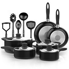 Non Stick Cookware Set 15 Piece Pots and Pans Safe Coating Kitchen Cooking