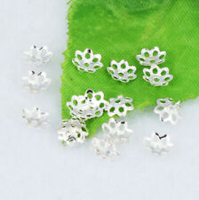 400pcs Silver plated Small Hollow Loose End Bead Caps Jewelry Findings 6mm