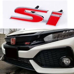 3D JDM Metal Si Sport Red Front Grille Emblem Badge Decoration For Honda Civic