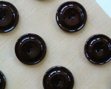 """Vintage Buttons - 15 Chocolate Brown 2-hole Raised Casein 5/8"""" Buttons - France"""