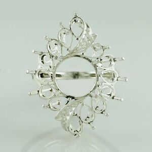 Semi Mount 925 Sterling Silver Ring Round New Year Faceted Cut Party Jewelry