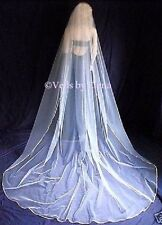"Wedding Bridal Veil Cathedral 108"" Width 120"" length Gold Silver Ribbon"