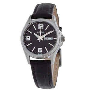 Citizen Quartz Black Dial Black Leather Ladies Watch EQ0591-13E