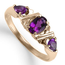 14k Solid Rose Gold Three Stone Amethyst Ring 1.00ct. Style  R1221 FREE Shipping