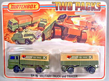 Matchbox TP-15 Military Truck  & Trailer military olive green mint on card