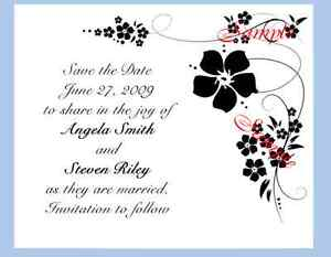 100 Personalized Custom Black Spring Flower Bridal Wedding Save The Date Cards
