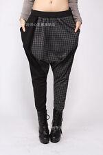 Elegant Black & Grey Houndstooth Skinny Legs Loose Fit YOGA Gypsy Harem Pants