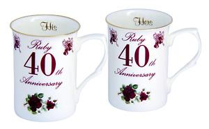 Pair of 40th (Ruby) Wedding Anniversary Bone China Mugs