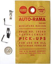 4pc 1960s Gilbert Auto-Rama Slot Car PICK-UP SHOES Rare 19260 Factory 1/32 Parts