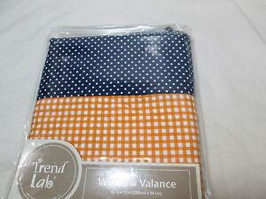 New Trend Lab Baby Window Valance 82x15 Orange, Navy and White - Gingham/Dots