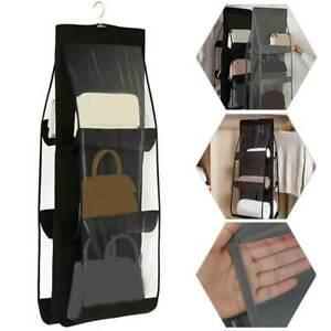 Hanging Handbags Organizer 6 Pockets Shelf Bag Storage Holder Wardrobe Closet