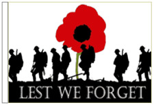 Lest We Forget British Army Poppy Sleeved Courtesy Flag for Boats 45cm x 30cm