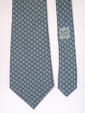 edle breite Krawatte von HERMÈS Paris 652 TA - Seide soie silk, graublau Vintage