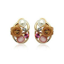 18K ROSE GOLD PLATED GENUINE CZ CRYSTAL AND PEARL & ROSE HEART EARRINGS