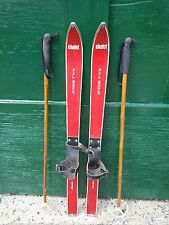 """VINTAGE Wooden 41"""" Skis Has Leather Bindings with RED Finish and Bamboo Poles"""