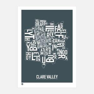 Clare Valley Type Map Australia  Souvenir Gift print