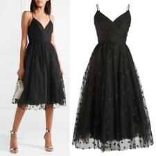 NEW J.Crew BLACK Embroidered WRAP Whimsical STAR TULLE Midi TEA PARTY DRESS 14