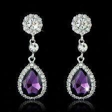 925 Sterling Silver Crystal Rhinestone Tear Drop Dangle Earrings Wedding Jewelry