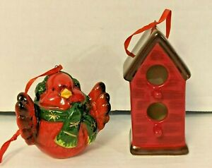Chubby Red Cardinal Bird And Birdhouse Ceramic Christmas Ornaments