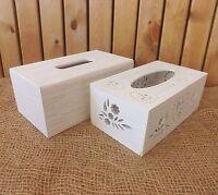 shabby chic en bois blanc tissu Housse Boite de rangement solide Grain / Cœurs &