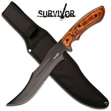 "SURVIVOR BIG 15"" Bowie Knife Hunting / Military Knife with Wood Handle"