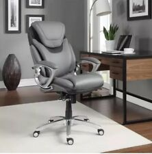 Leather Executive Office Chair Light Grey Modern Furniture Comfy Seat Desk NEW