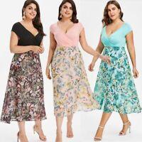 Damen Chiffon Sommerkleid Cocktailkleid Kleid Mollige Übergröße Partykleid BC518